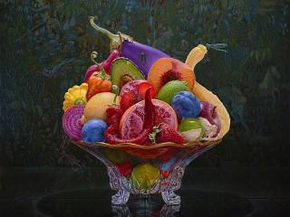 Собирать пазл Овощи в вазе онлайн