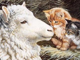Собирать пазл Овца пришла онлайн