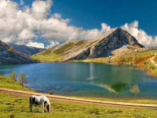 Собирать пазл Озеро. Горы. онлайн