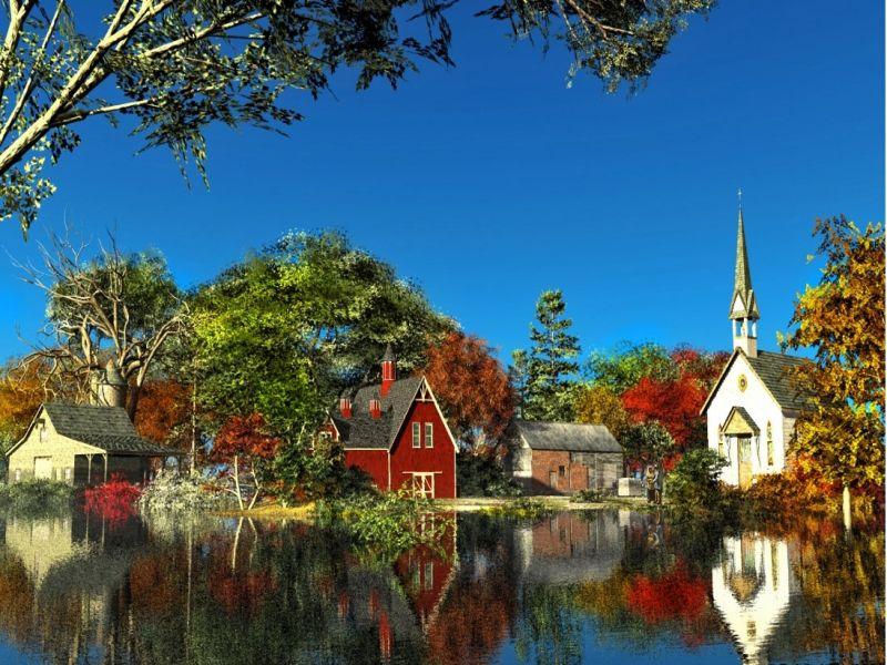 Пазл Собирать пазлы онлайн - Озеро осень