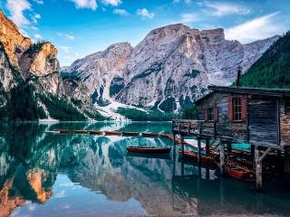 Собирать пазл Озеро Прагса онлайн