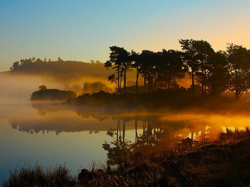 Пазл Собирать пазлы онлайн - Озеро в тумане