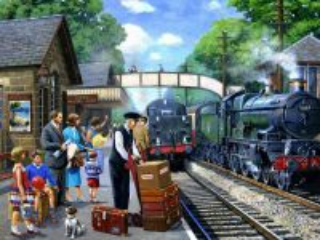 Собирать пазл Ожидание поезда онлайн