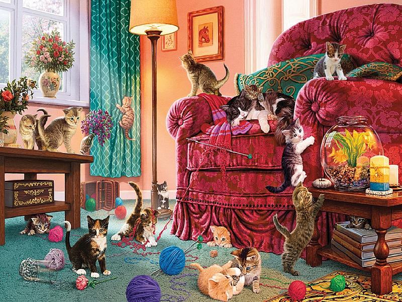 Пазл Собирать пазлы онлайн - Озорные котята