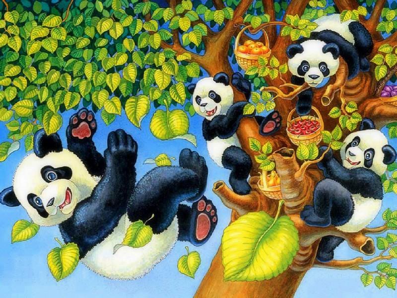Пазл Собирать пазлы онлайн - Озорные панды