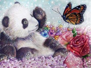 Собирать пазл Панда и бабочка онлайн