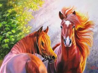 Собирать пазл Пара лошадей онлайн