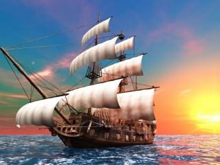 Собирать пазл Парусник Море Закат онлайн
