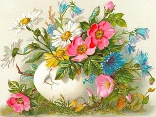 Собирать пазл Пасхальная открытка онлайн