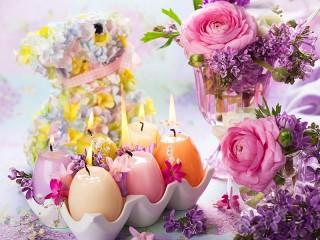 Собирать пазл Пасхальные свечи онлайн