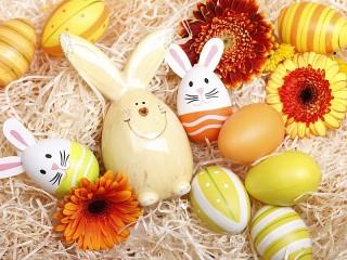 Собирать пазл Пасхальные зайцы онлайн