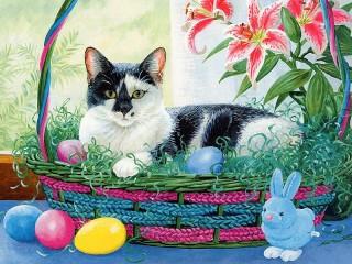 Собирать пазл Пасхальный кот онлайн