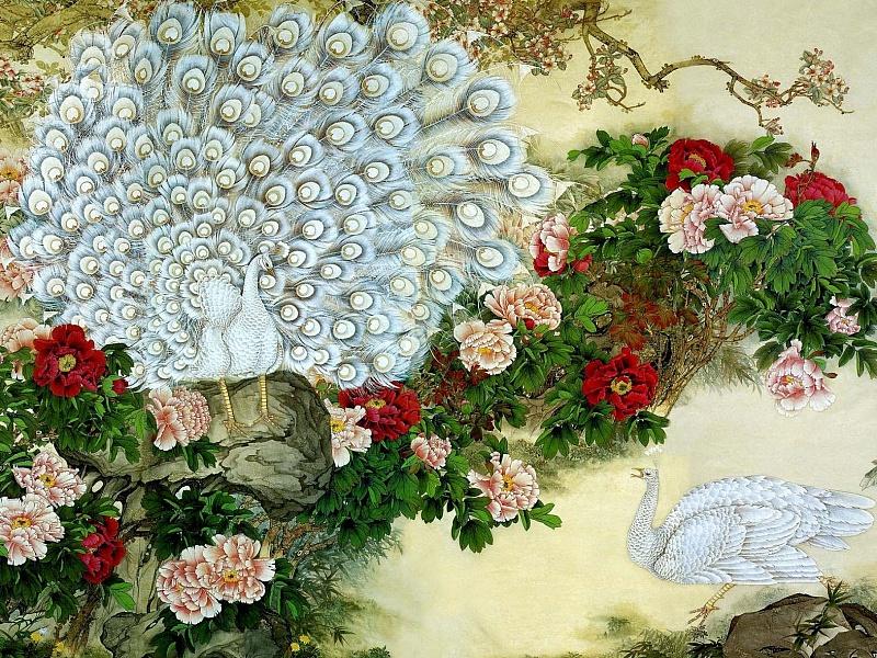 Пазл Собирать пазлы онлайн - Павлины и цветы