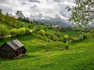 Собирать пазл Пейзаж на фоне неба онлайн