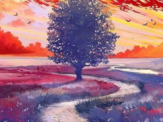 Собирать пазл Пейзаж с деревом онлайн