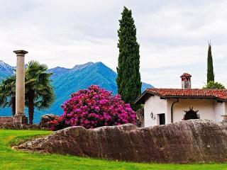 Собирать пазл Пейзаж с кипарисами онлайн