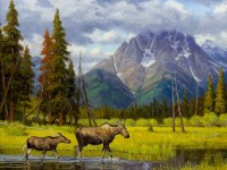 Собирать пазл Пейзаж с лосями онлайн