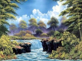 Собирать пазл Пейзаж с водопадом онлайн