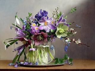 Собирать пазл Первые цветы онлайн