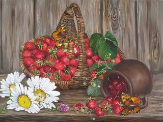 Собирать пазл Первые ягоды онлайн