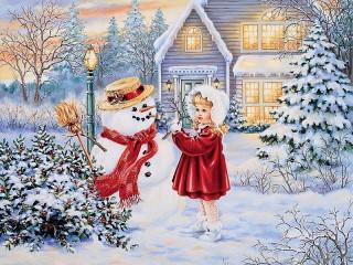 Собирать пазл Первый снеговик онлайн