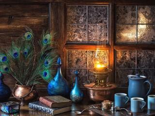 Собирать пазл Перья и лампа онлайн