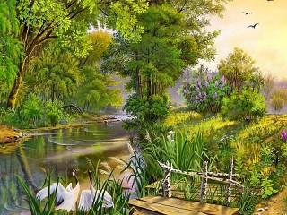 Собирать пазл Пейзаж с цаплями онлайн