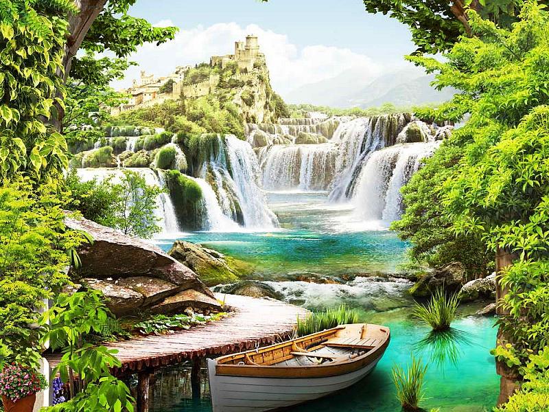 Пазл Собирать пазлы онлайн - Пейзаж с водопадом