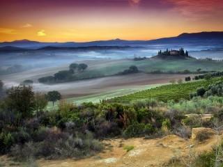 Собирать пазл Пейзажи Тосканы онлайн