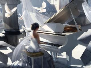 Собирать пазл Пианистка и голуби онлайн