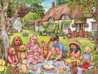 Собирать пазл Пикник с друзьями онлайн