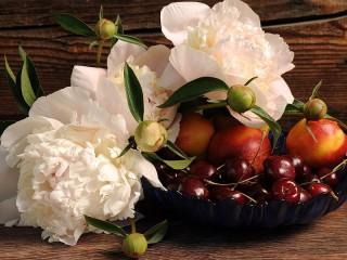 Собирать пазл Пионы и фрукты онлайн