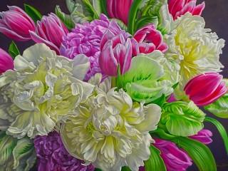 Собирать пазл Пионы и тюльпаны онлайн
