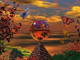 Собирать пазл Пирамида и шар онлайн