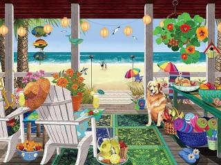 Собирать пазл Пляжный домик онлайн