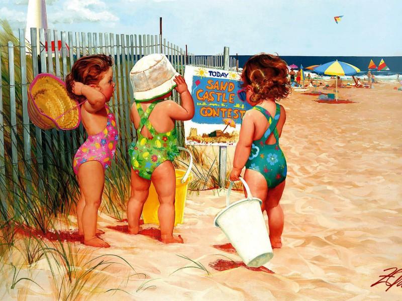 Пазл Собирать пазлы онлайн - Пляжницы