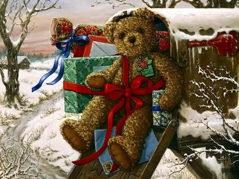 Винтажные открытки с рождеством с мишками, надписями самый