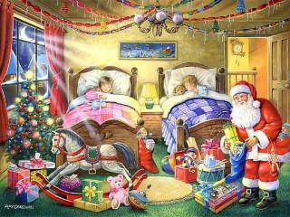 Собирать пазл Подарки под кроватью онлайн