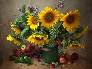 Собирать пазл Подсолнухи и фрукты онлайн