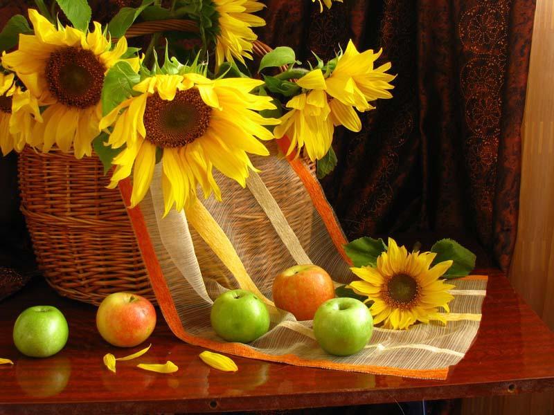 Пазл Собирать пазлы онлайн - Подсолнухи и яблоки