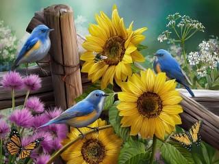 Собирать пазл Подсолнухи в саду онлайн