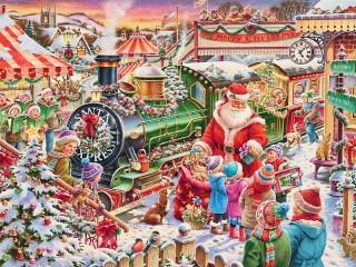 Собирать пазл Поезд Санты онлайн