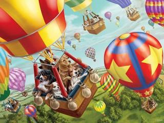 Собирать пазл Полет на шаре онлайн