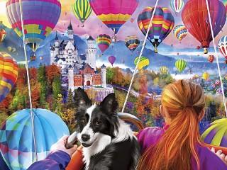 Собирать пазл Полет на воздушном шаре онлайн