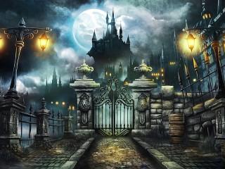 Собирать пазл Полнолуние и замок онлайн