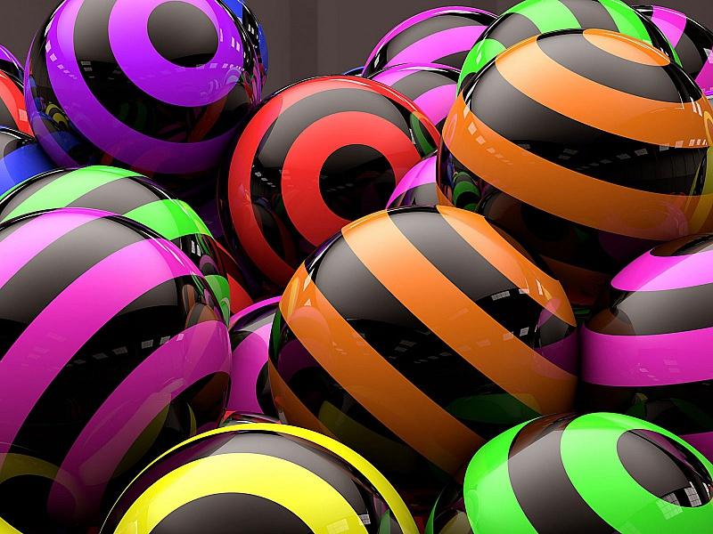 Пазл Собирать пазлы онлайн - Полосатые шары