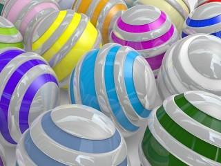 Собирать пазл Полосатые шары онлайн