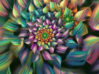 Собирать пазл Полосатые цветы онлайн