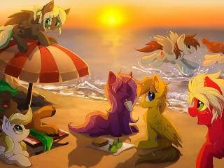 Собирать пазл Пони на пляже онлайн