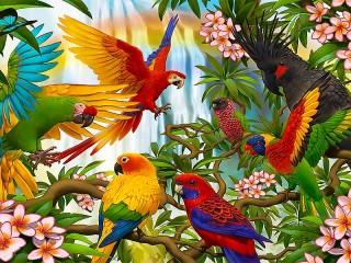 Собирать пазл Попугаи 3D онлайн
